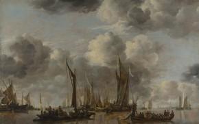 Картинка корабль, картина, парус, Jan van de Cappelle, Ян ван Каппель, A Shipping Scene with a …