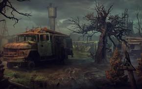 Картинка машина, дерево, знак, башня, радиация, арт, Yuri Hill, пожарка
