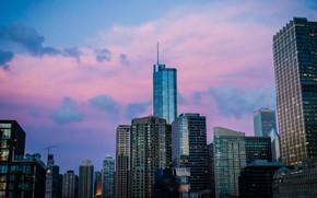 Картинка city, USA, Chicago, Illinois, twilight, sky, sunset, skyscraper, clouds, evening, building, United States of America, ...