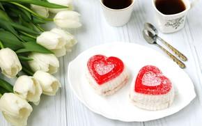 Картинка цветы, сладость, тюльпаны, пирожные