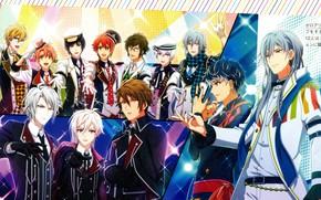 Картинка группа, парни, голубые волосы, на сцене, певцы, Yotsuba Tamaki, Ousaka Sougo, сценический костюм, by Arina …