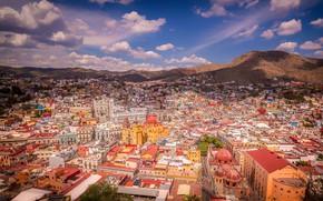 Картинка небо, солнце, облака, пейзаж, горы, город, дома, Мексика, панорама, вид сверху, Guanajuato