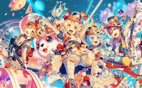 Картинка музыка, девушки, аниме, Bang Dream!