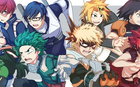 Картинка девушки, парни, герои, My Hero Academia, Boku No Hero Academia, Моя Геройская Академия