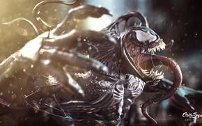 Картинка язык, искры, боке, Веном, Venom, симбиот