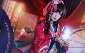 Обои взгляд, девушка, свет, красный, лицо, поза, стиль, сияние, фон, портрет, руки, макияж, брюнетка, прическа, костюм, ...