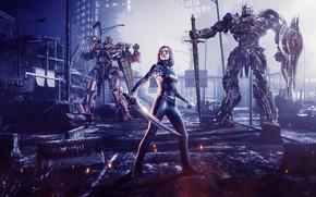 Картинка ночь, город, фантастика, Трансформеры, Transformers, Alita: Battle Angel, Alita