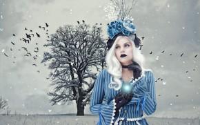 Картинка зима, иней, поле, девушка, снег, пейзаж, птицы, синий, природа, лицо, поза, дерево, голубой, готика, магия, …