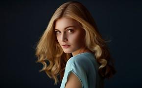 Обои взгляд, девушка, портрет, Sergey Bidun