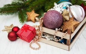 Картинка украшения, шары, Новый Год, Рождество, подарки, christmas, balls, merry, decoration, gift box, fir tree, ветки …
