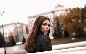 Картинка взгляд, девушка, природа, волосы, брюнетка, боке, Askar Idrisov
