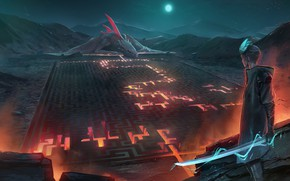 Картинка fire, moon, sword, fantasy, weapon, night, mountain, dragon, labyrinth, moonlight, artist, digital art, lava, artwork, …