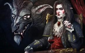 Картинка бокал, мужик, вампир