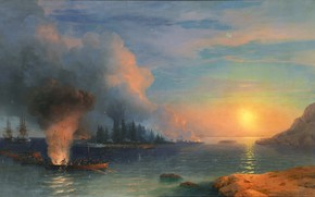 Картинка картина, баталия, Иван Айвазовский, 1858, Битва за Бомарсунд