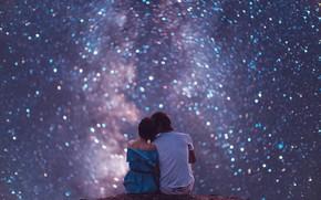 Картинка небо, девушка, звёзды, парень, влюблённые, звёздное небо, Кристина Макеева