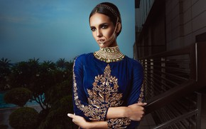 Картинка model, pose, indian, blue dress, jewelery, traditional dress, nose ring