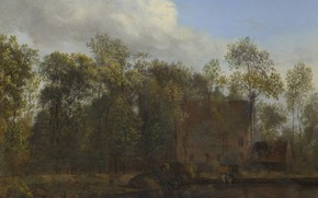 Картинка пейзаж, природа, картина, Jan van der Heyden, Ян ван дер Хейден, Ферма среди Деревьев