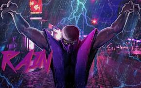 Картинка Рисунок, Музыка, Дождь, Фон, Молнии, Арт, Mortal Kombat, Rain, Synth, Retrowave, Synthwave, New Retro Wave, …
