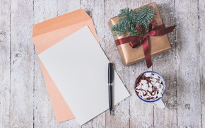 Картинка подарок, ручка, конверт, горячий шоколад, marshmallows, Valeria Aksakova