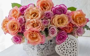 Картинка любовь, цветы, сердце, розы, букет, colorful, love, розовые, heart, pink, flowers, beautiful, romantic, roses