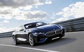 Картинка дорога, движение, купе, BMW, 2017, 8-Series Concept