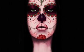 Картинка Девушка, Стиль, Лицо, Глаза, Фон, Calavera, Digital Art, Día de los Muertos, Dia de los …