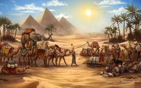 Картинка Рисунок, Игра, Караван, Пирамиды, Египет, Слон, Art, Game, Illustration, Верблюды, Game Art, Board Game, Century …