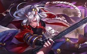 Картинка девушка, волосы, маг, Gladiator, Kusanagi, хлыст, Heroes of Newerth