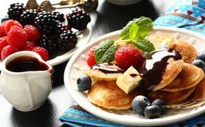Картинка ягоды, завтрак, соус, блинчики, Iryna Melnyk