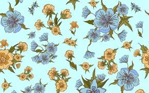 Картинка листья, цветы, фон, голубой, узор, бесшовный