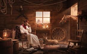 Картинка животные, оружие, мужик, помещение, Meem Bank