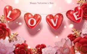 Картинка цветы, праздник, Love, сердечки, Valentines Day