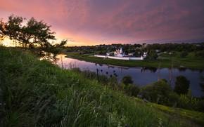 Картинка пейзаж, природа, река, рассвет, утро, монастырь, берега, Волга