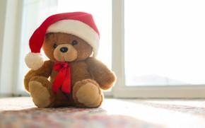 Картинка Новый Год, Рождество, мишка, Christmas, New Year, teddy bear, Merry, santa hat