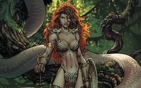 Картинка girl, sword, fantasy, snake, trees, weapon, comics, redhead, artwork, shield, warrior, fantasy art, Red Sonja, …