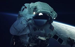 Картинка Человек, Планета, Земля, Астронавт, Костюм, Космонавт, USA, США, Арт, Art, Earth, Planet, Орбита, Suit, Man, …