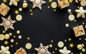 Картинка праздник, игрушки, новый год, декор, композиция