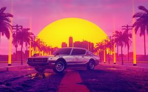 Картинка Закат, Авто, Музыка, Машина, Стиль, Рассвет, Фон, Car, 80s, Sun, Style, Datsun, Neon, Illustration, Vice …