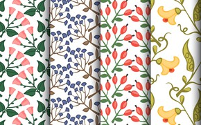Картинка белый, фон, текстура, цветочки, patterns, Set, floral