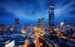 Картинка небо, ночь, здания, Тайланд, Бангкок