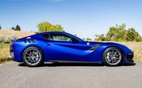 Картинка дорога, синий, спорткар, вид сбоку, Gran Turismo, Ferrari F12 TDF