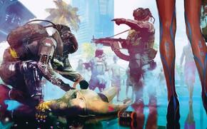 Картинка Город, Игра, Люди, Арт, Киборг, CD Projekt RED, Cyberpunk 2077, Киберпанк, Cyberpunk, Киберпанк 2077, Киборги, …
