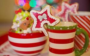 Картинка праздник, печенье, Рождество, кружка, Новый год, фигурка, новогодние украшения, пиала, новогодние декорации