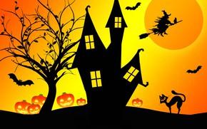 Картинка ночь, дом, Хэллоуин, ведьма