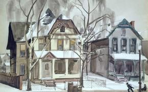 Картинка 1928, Charles Ephraim Burchfield, Winter Scene with Children