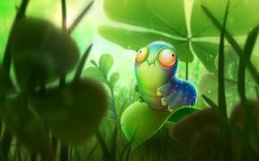 Картинка гусеница, природа, лист, смешная