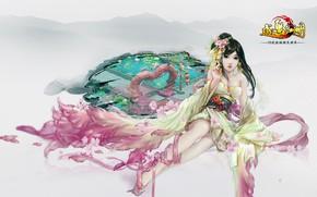 Картинка девушка, фон, азиатка, Happy Lakes