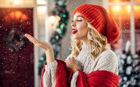 Картинка зима, взгляд, девушка, снег, шапка, Новый год, свитер, боке