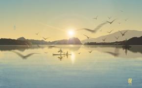 Картинка девушка, пейзаж, закат, горы, птицы