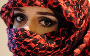 Картинка глаза, платок, девушка.лицо